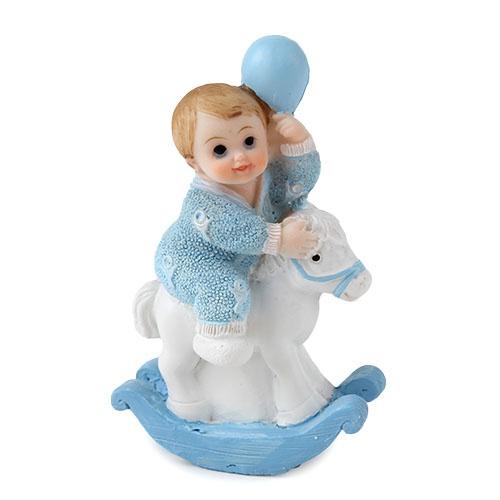 Deko baby junge auf schaukelpferd in hellblau 90 mm - Baby deko junge ...