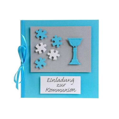 einladungskarte puzzle zur kommunion in hellblau | tafeldeko, Einladung