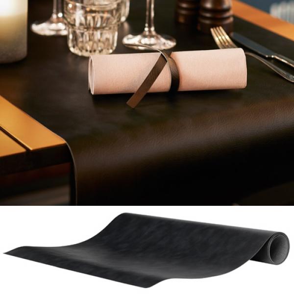 duni leder tischl ufer in schwarz 0 5 x 1 2 m. Black Bedroom Furniture Sets. Home Design Ideas