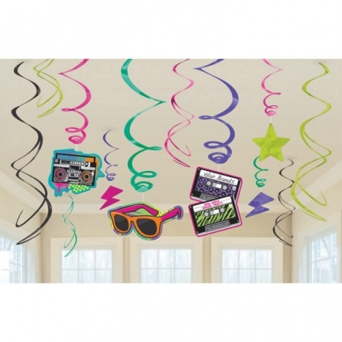 12 tlg party raumdekoration spiralen set retro 80iger for Accessoires 80er party