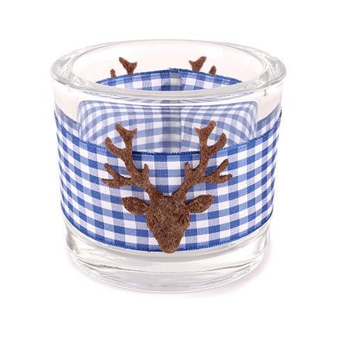 kerzenglas mit karoband und hirschkopf in blau 80 mm. Black Bedroom Furniture Sets. Home Design Ideas
