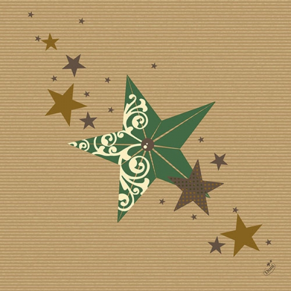 Duni Dunilin Servietten Walk of Fame Green Kraft, 40 x 40 cm