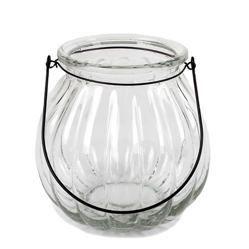 gro es glas windlicht vase mit henkel in klar 18 cm. Black Bedroom Furniture Sets. Home Design Ideas