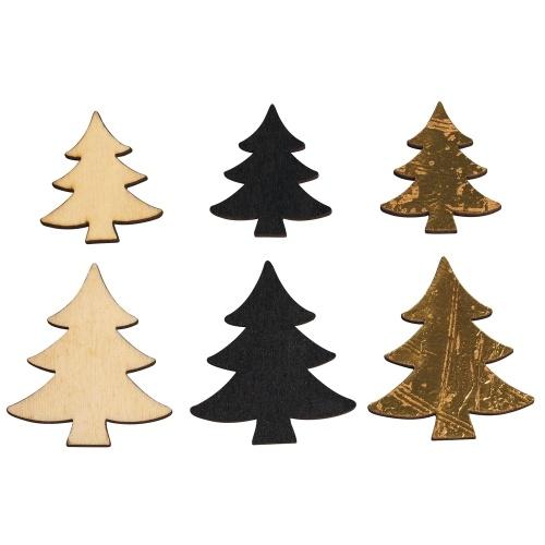 12 holz streuteile weihnachten tannenbaum 30 40 mm. Black Bedroom Furniture Sets. Home Design Ideas