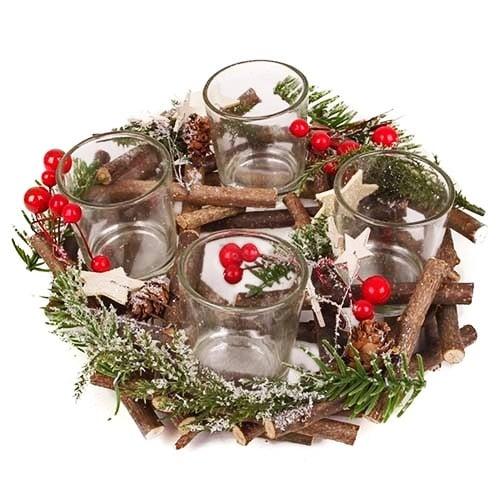 adventskranz weihnachtszauber rot gr n f r 4 teelichter. Black Bedroom Furniture Sets. Home Design Ideas