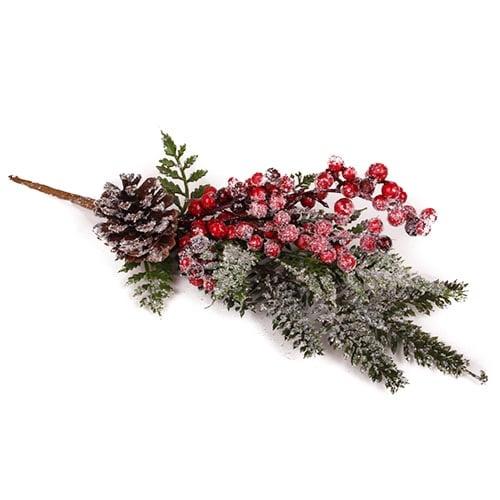 Kunstblume winterbeeren tannenzweig mit zapfen schnee - Weihnachtsdeko ast ...