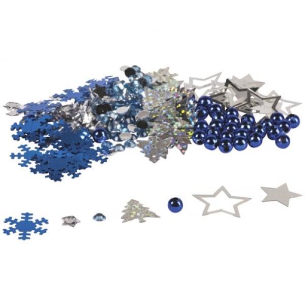 Streudeko- und Bastelset Winter Mix in Blau/Silber Bild 1