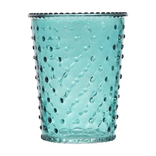 glas windlicht vase mit noppen in t rkis 13 cm ebay. Black Bedroom Furniture Sets. Home Design Ideas