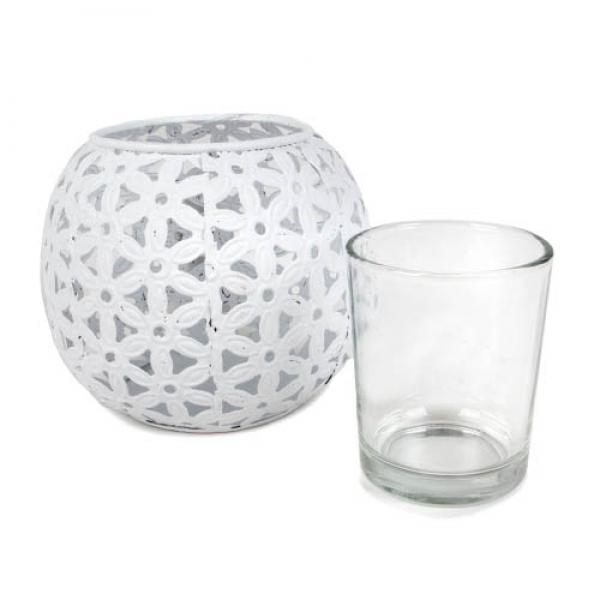 metall windlicht blumen ornamente mit teelichtglas in wei 90 mm. Black Bedroom Furniture Sets. Home Design Ideas