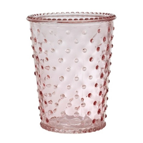 glas windlicht vase mit noppen in rosa 13 cm ebay. Black Bedroom Furniture Sets. Home Design Ideas