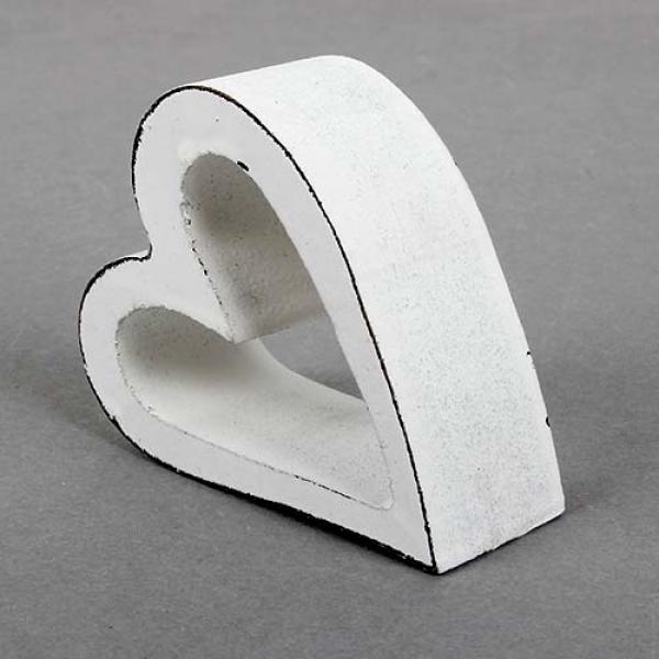 holz herz shabby offen in wei 75 mm. Black Bedroom Furniture Sets. Home Design Ideas