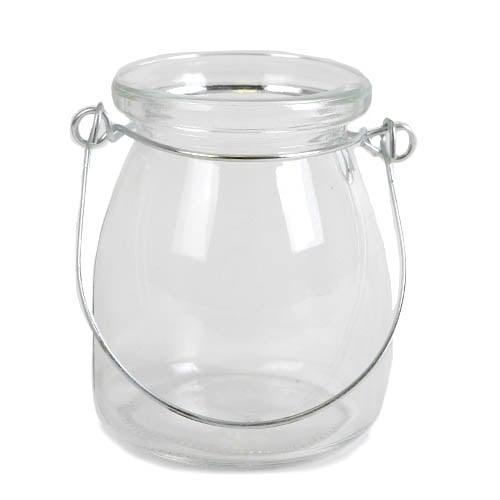 kleines glas v schen windlicht mit henkel 85 mm. Black Bedroom Furniture Sets. Home Design Ideas