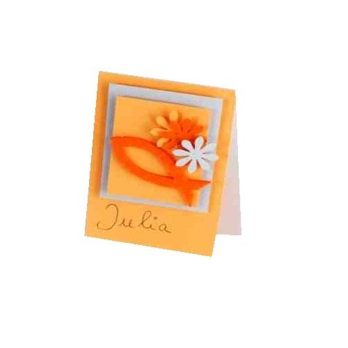 Tischkarte kommunion oder konfirmation in orange ebay for Tafel deko