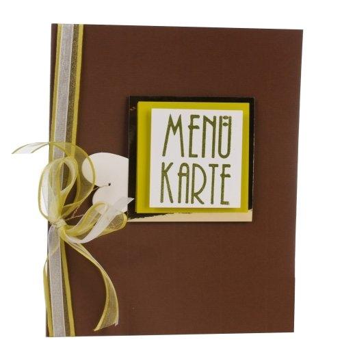 Menükarte zur Tischdeko Hochzeit in braun/hellgrün Bild 1