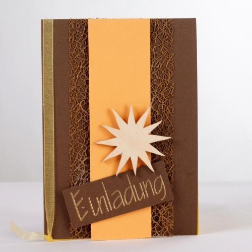 Einladungskarte Geburtstag in Apricot/Braun Bild 1
