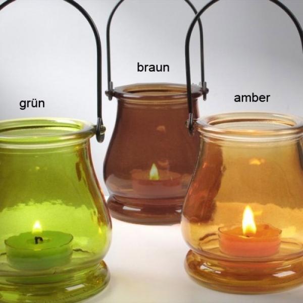 Glas windlicht in 3 farben zur gartendeko - Glas gartendeko ...