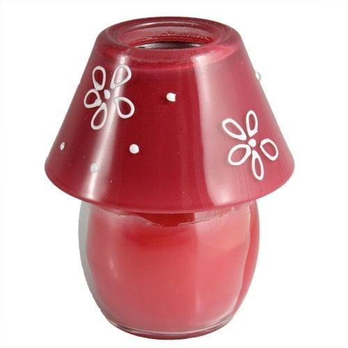 Kerze im Glas als Lampe in rot Bild 1