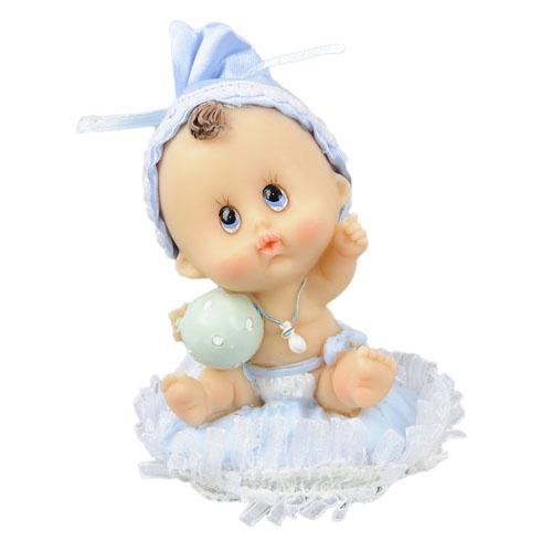 Taufe deko baby auf einem kissen mit ball hellblau for Baby deko