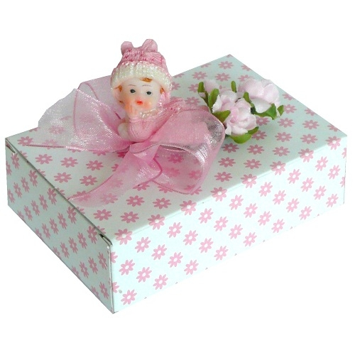 bonboniere box taufe m dchen mit baby in rosa. Black Bedroom Furniture Sets. Home Design Ideas