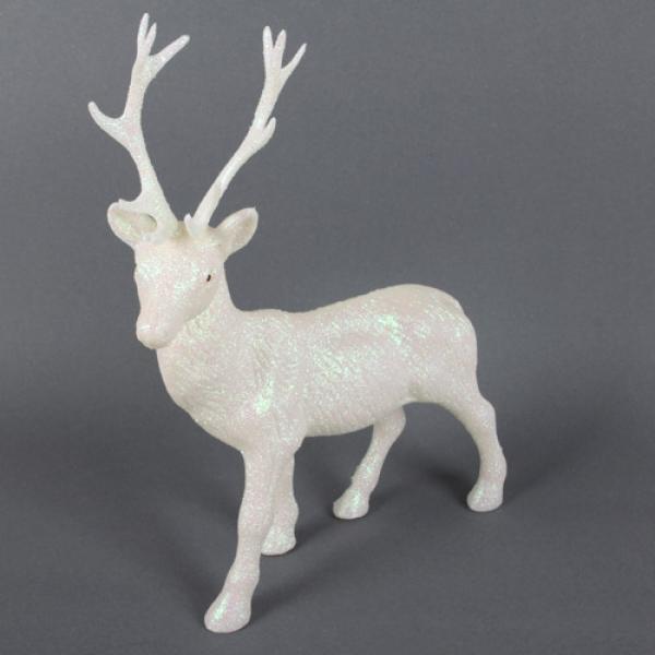 gro er glitzer hirsch in wei perlmutt weihnachten 27 cm. Black Bedroom Furniture Sets. Home Design Ideas