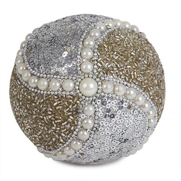 weihnachtsdeko kugel mit deko perlen besetzt in champagner silber 10 cm nr 4. Black Bedroom Furniture Sets. Home Design Ideas