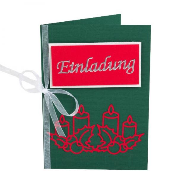 einladungskarte weihnachten adventslicht in gr n rot. Black Bedroom Furniture Sets. Home Design Ideas