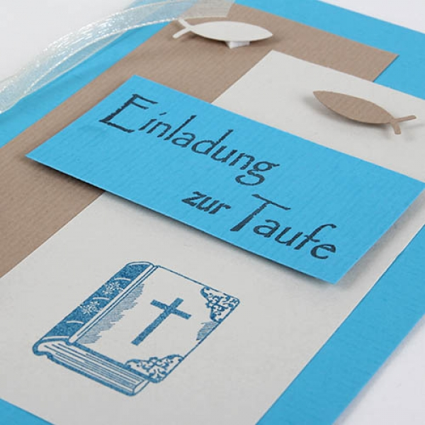Einladungskarte Taufe, Maritim, Fische, Bibel