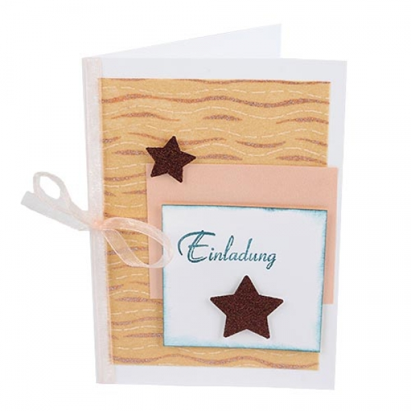 Einladungskarte Weihnachten, Sterne Und Wellenmuster In Bronze.
