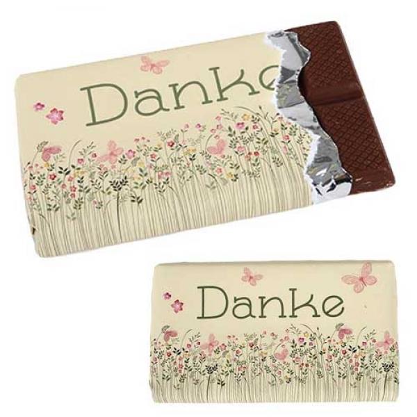 Gastgeschenk Schokolade Danke Blumenwiese Und Schmetterlinge