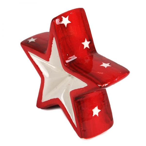kleiner keramik weihnachtsstern in rot wei 75 mm. Black Bedroom Furniture Sets. Home Design Ideas
