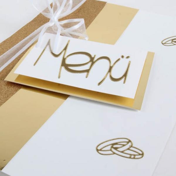 Menükarte Goldene Hochzeit Hochzeit Eheringe In Goldweiß