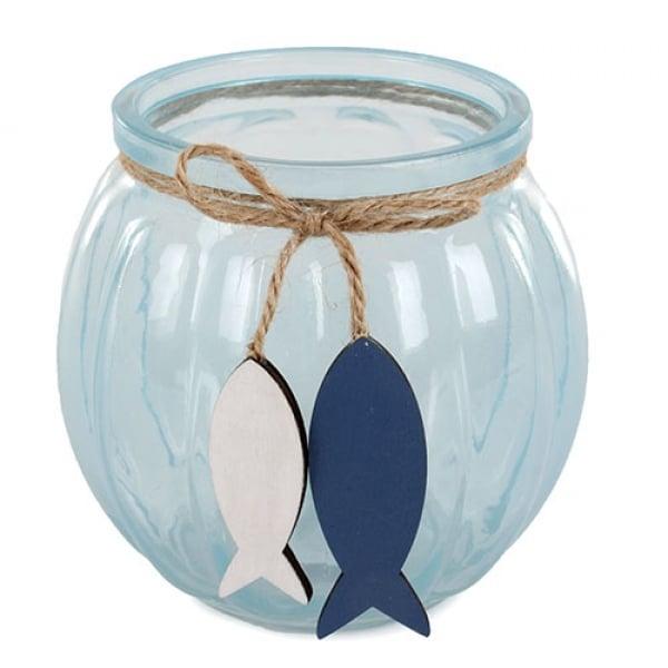 Glas Windlicht Mit Holz Fischanh Nger In Hellblau 11 Cm