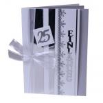 Einladungskarte zur Silbernen Hochzeit in Silber