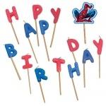 14er Pack Buchstabenkerzen Happy Birthday Spiderman