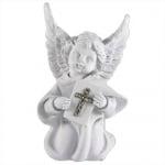 Engel kniend mit Buch und Glitzerkreuz in Weiß