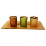 4er Set Teelichtgläser mit Glasplatte