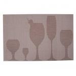 Tischset geflochten mit Glasdekor in Beige, 45 x 30 cm