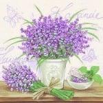20er Pack Servietten Lavendel auf Grau, 33 x 33 cm
