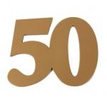 Große Holz Jubiläumszahl 50 in Gold, 15 cm