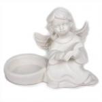 Keramik Teelichthalter Engel mit Buch