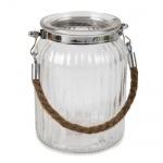 Glas Windlicht mit Sisalkordel, 14 cm