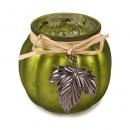 Teelichtglas mit Bastband und Metallblatt in Grün, 70 mm