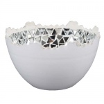 Teelichtschale Mosaik in Weiß/Silber