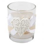 Kerzenglas mit Juteband und Herz, 60 mm
