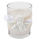 Kerzenglas mit Juteband und Engel, 60 mm