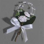 Anstecker Kommunion, Hochzeit Wickelrose in Weiß mit Perlen, 80 mm