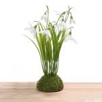 Kunstblume Schneeglöckchen Strauß mit Moos, 20 cm