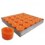 25er Pack Teelichter orange, transparente Hülle, 8 h Brenndauer