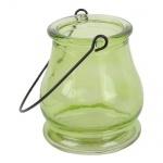 Glas Windlicht in Grün zur Gartendeko