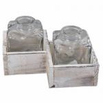 2 Glas Väschen in der Holzbox, 10 cm